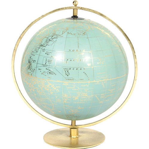 Aqua & Brass Decorative Globe