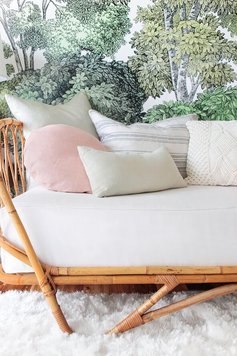 Pastel throw pillow arrangement