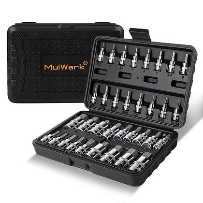 MULWARK Premium Master 3/8, 1/4, 1/2 in. Drive Hex Bit Socket Set Automotive,Bik