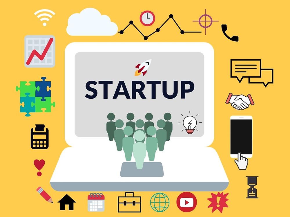 A imagem representa vários segmentos pensados no processo de criação de Startups, como gráficos, tempo, tecnologia, criatividade, pessoas e ideias.