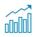 Gráfico crescente apontano bons resultados de uma consultoria e diagnóstico fianceiro.