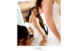 CT wedding photo bride looking in mirror
