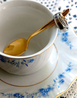 CT Wedding rings in teacup