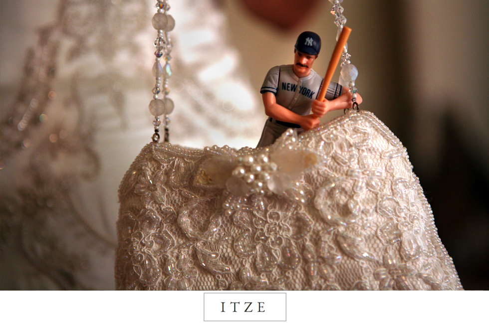CT wedding photo New York Yankees figuring in bride purse