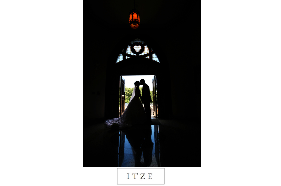 CT wedding photo silhouette in church door