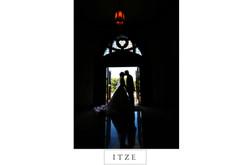 CT wedding photo silhouette in church door