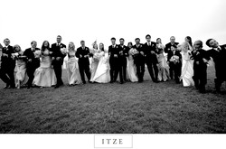CT wedding photo Waters Edge Resort and Spa bridal party with linked arms