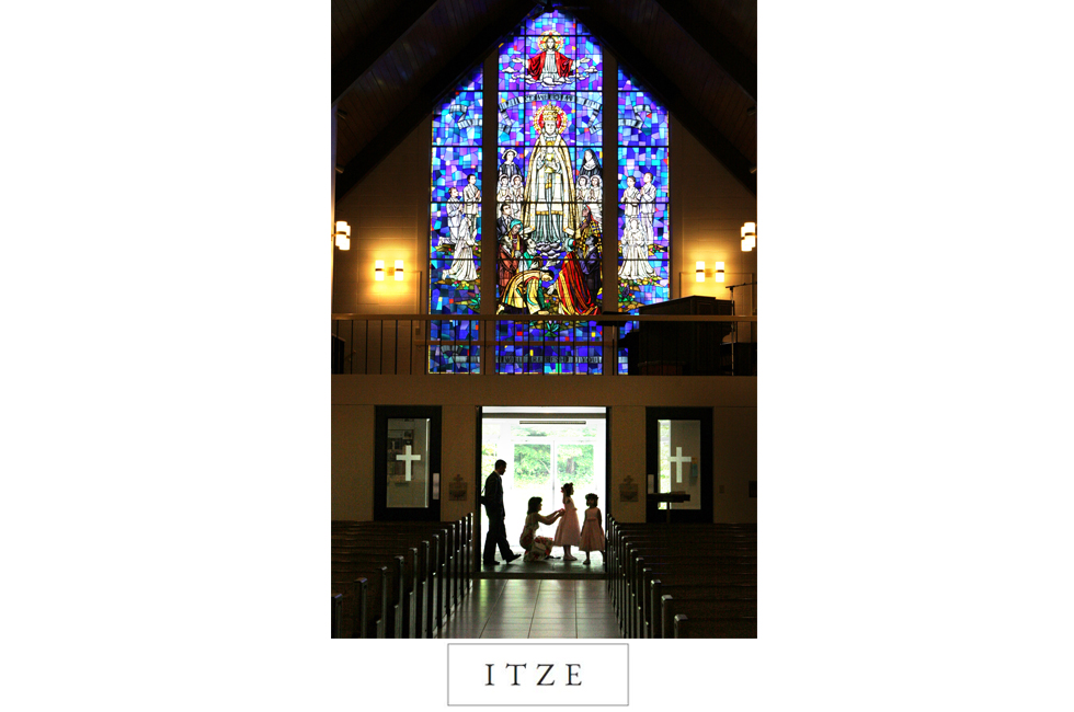 CT wedding photo church stained glass