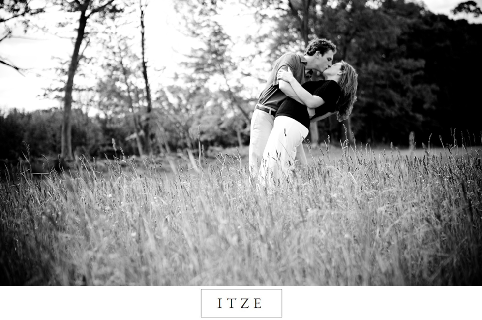 CT engagement photo dip in field at Priam Vineyards