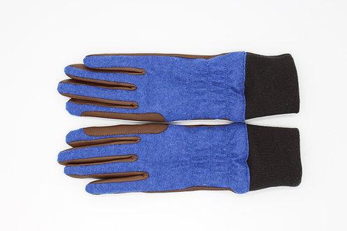 Damen Reithandschuh Bündchen Loden jeans blau / Leder dark braun Kaschmirfutter