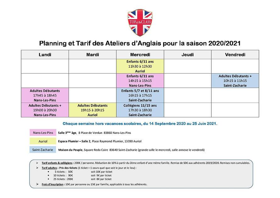 Planning des cours 2020-2021_Flyer versi