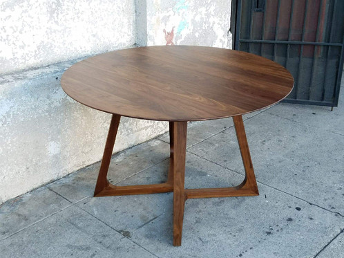 Solid Walnut Round Dining Table sunbeamvintage