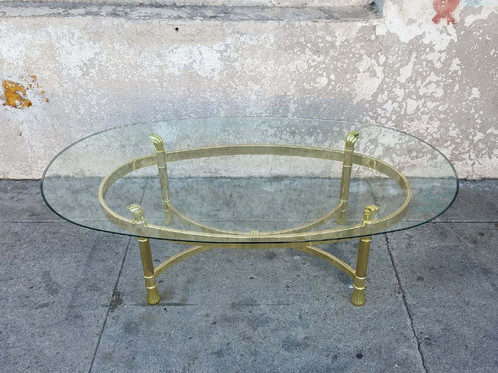 Vintage Brass Oval Coffee Table. $ 450.00. SKU: VIN20050. 49 L X 28 W X 15  1/4 H $450 Regular Price Use Promo Code Brass50 To Save 50% Off On This  Unique ...