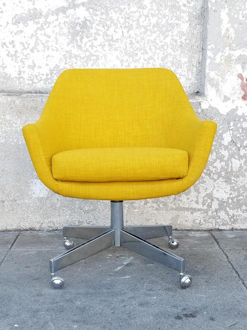 vintage office chair in newly upholstered mustard tweed | sunbeam