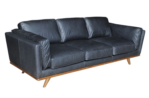 Mid Century Black Leather Family Sofa
