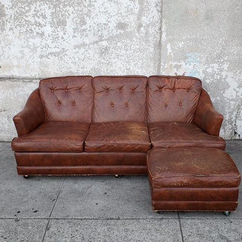 Vintage Brown Leather Sectional