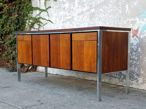 Walnut And Chrome Credenza With File Cabinet