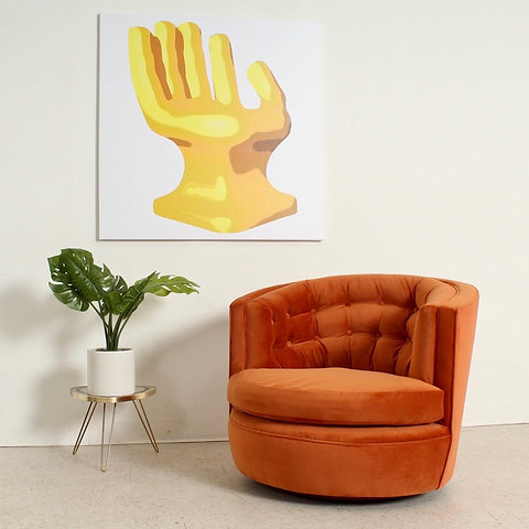 Wondrous Burnt Orange Vintage Velvet Swivel Chair Squirreltailoven Fun Painted Chair Ideas Images Squirreltailovenorg