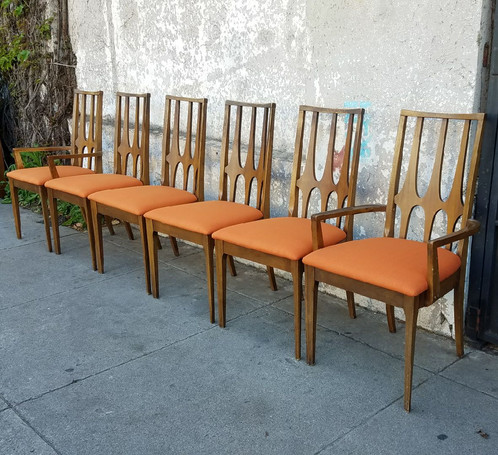Set Of 6 Vintage Broyhill Brasilia Dining Chairs