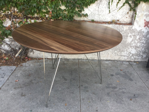 hairpin legs dining table diy reclaimed wood round walnut top chrome 3 rod