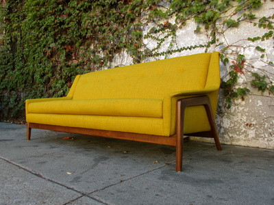 mid century sofa table modern style mustard yellow call availability vintage for sale