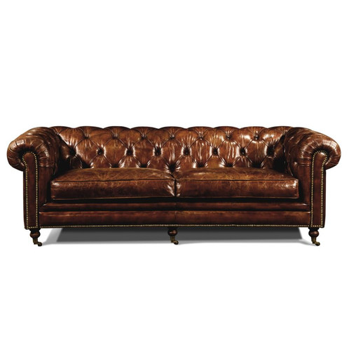 Distressed Tabacco Leather Chesterfield Sofa
