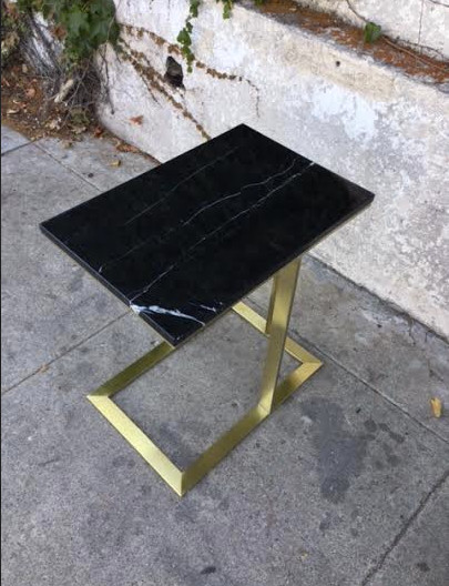 Modern Black Marble Side Table With Brass Sunbeamvintage - Black and brass side table