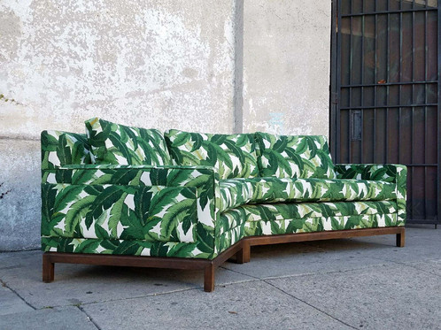 Palm Leaf Vintage Sofa Newly Upholstered