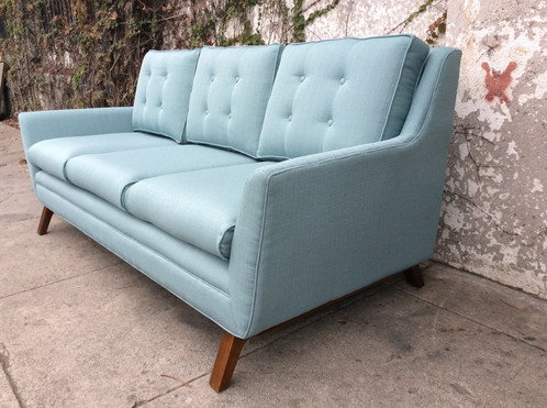The Parker Sofa In Light Aqua Blue