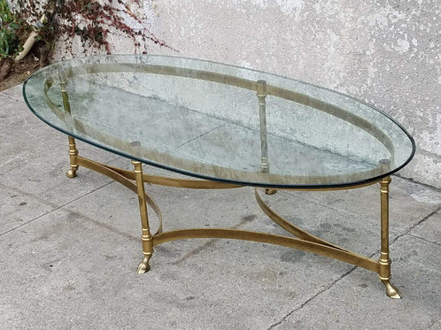 Oval Vintage Brass Maison Jansen Coffee Table