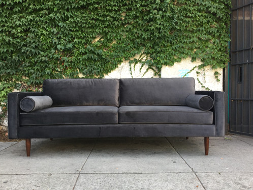 Dark Grey Velvet Chloe Sofa W/bolster Pillows. Comfortable And Soft With  Deep Seating. Perfect Lounge Sofa. Get Ready For Some Luxurious Living.