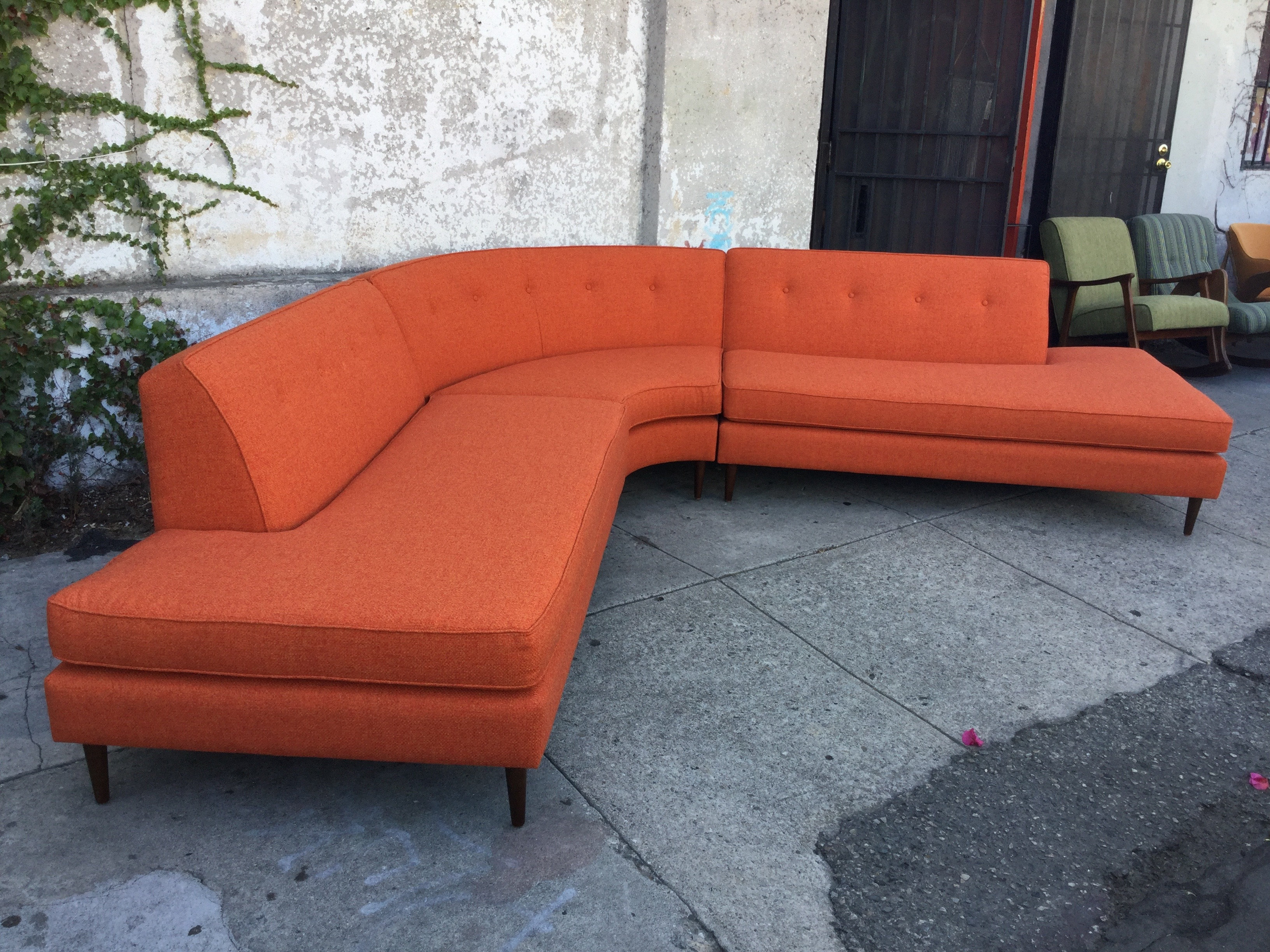 Orange Tweed Sectional Curved Sofa Sunbeam Vintage