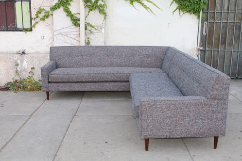 mid century sectional in pepper grey