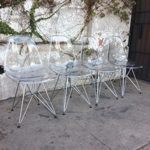 Mid Century Clear Eames Style Chair With Wire Legs 19 W X 17 D 32 5 H Back 16 Seat 800 Set Of 4 Or 225 Each Call For Availability