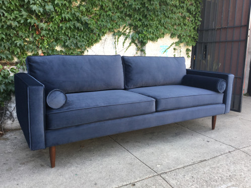 Blue Velvet Chloe Sofa W/bolster Pillows. Comfortable And Soft With Deep  Seating. Perfect Lounge Sofa. Get Ready For Some Luxurious Living.