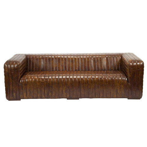 Delicious Tabacco Brown Leather ART DECO Sofa