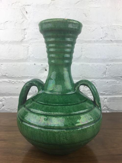 Earthenware Iridescent Emerald Green Vase