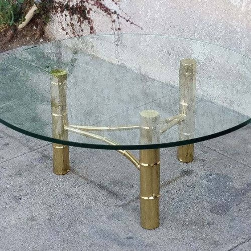 Vintage Brass Cocktail Coffee Table