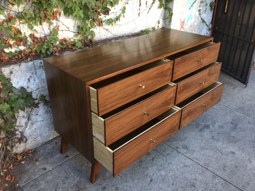 6 Drawer Fontaine Handmade Mid Century Walnut Dresser Each Piece Is Handcrafted And Uniquely Diffe Woodgrain Will Vary