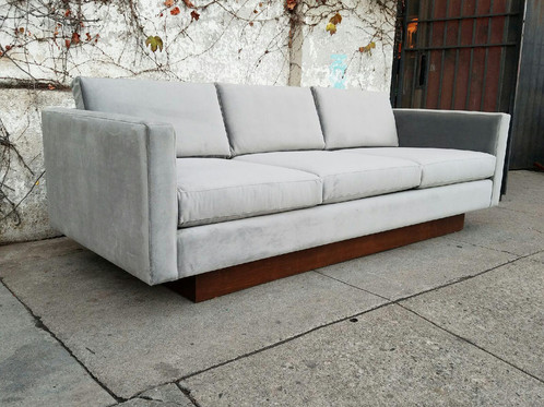 Marvelous Gorgeous Light Grey Velvet Floating Sofa With Plith Base By Sunbeam Vintage