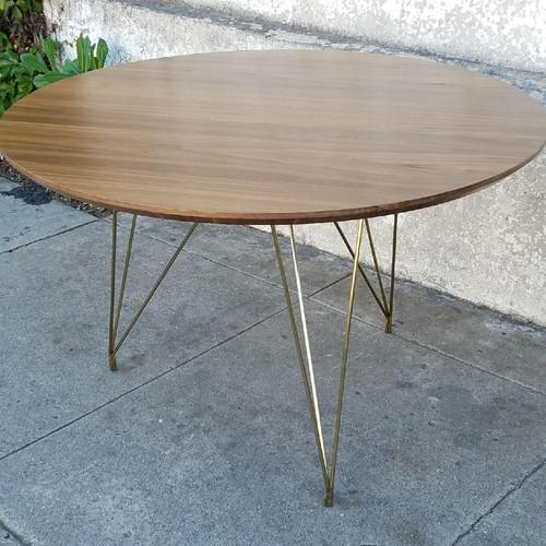 Kimberly Walnut Brass Hairpin Leg Dining Table