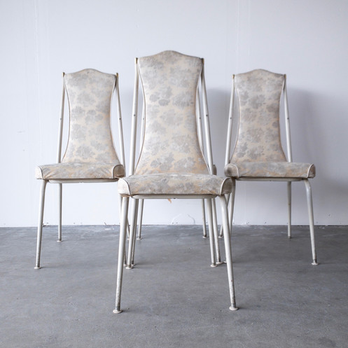 Groovy Set Of Four White Floral Pattern Dining Chairs As Found Unemploymentrelief Wooden Chair Designs For Living Room Unemploymentrelieforg
