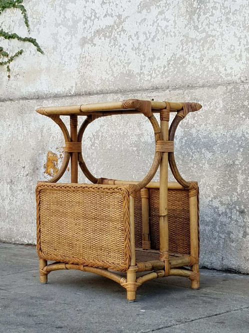 Vintage Wicker Side Table Magazine Table
