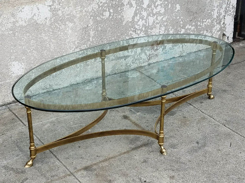 Oval Vintage Brass Maison Jansen Coffee Table