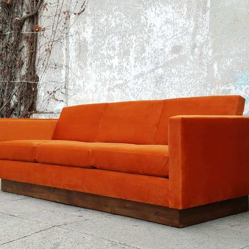 burnt orange 1970s style floating sofa - Orange Couch
