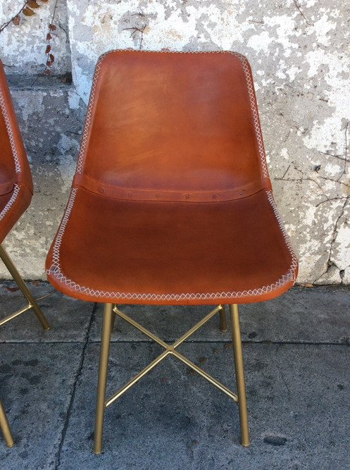 218356480d344 Mid Century Leather and Gold Dining Chairs 18