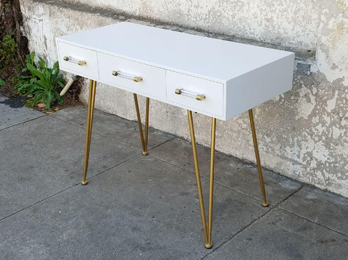 Modern White Gold 3 Drawer Desk With Hairpin Legs