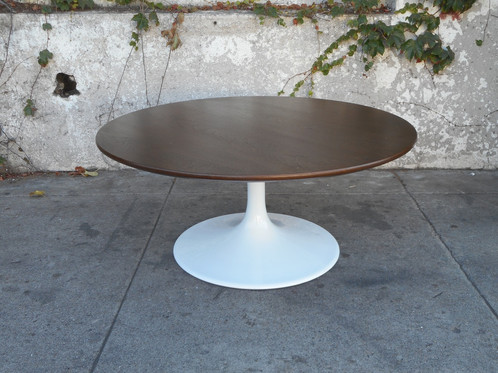 Mid Century Round Walnut Tulip Coffee Table sunbeamvintage