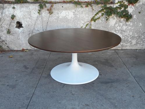Mid Century Round Walnut Tulip Coffee Table