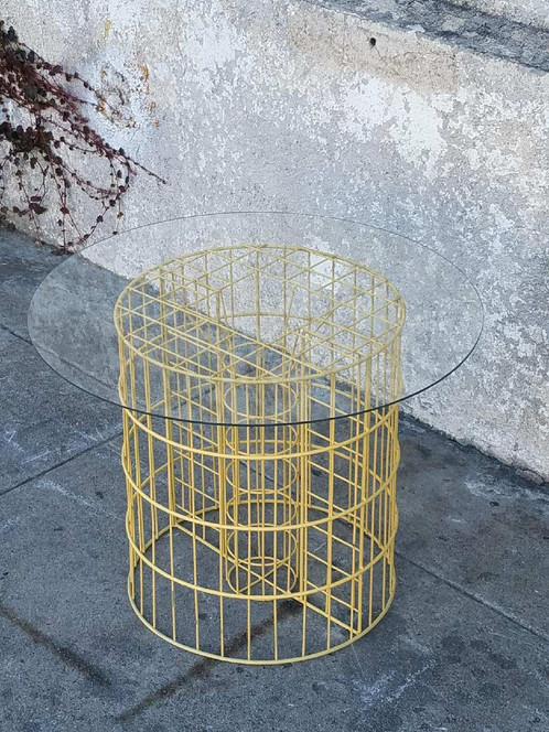 Vintage Yellow Wire Coffee Table Side Table | sunbeam-vintage